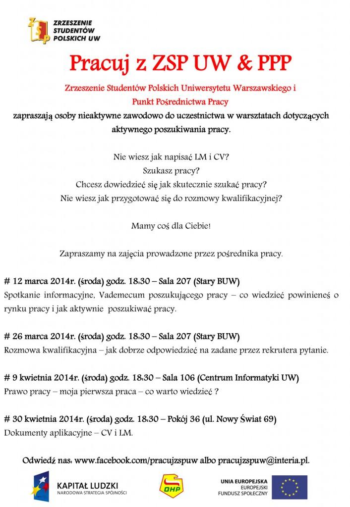 plakat Pracuj z ZSP UW